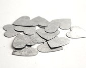 12 small galvanized metal heart . party confetti . country wedding decor . bridal shower confetti . party favors . silver tin heart