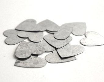 10 small galvanized metal heart . party confetti . country wedding decor . bridal shower confetti . party favors . silver tin heart