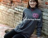 Women's Monogrammed Quarter Zip Sweatshirt