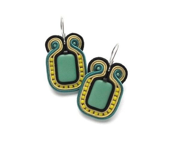 mint green and yellow earrings soutache earrings by