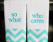 Monogrammed Kitchen Towels or Hand Towels - Aqua and White Chevron