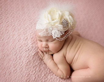 Ivory Christening Baby Headband Baptism Hair Bow Flower Band Toddler Infant Newborn Wedding