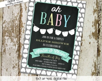 diaper shower invitation gender reveal gender neutral chalkboard baby sprinkle couples twins coed bash (item 1448) shabby chic invitations