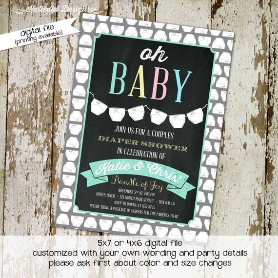 he or she gender reveal invitation surprise gender reveal diaper wipe brunch diapers for dad co-ed baby shower chalkboard 1448 Katiedid Card