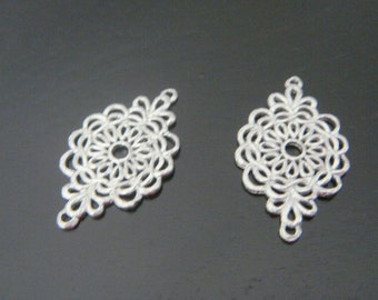 Matte Silver plated Silver oriental Connectors, Pendants, 2 pc, EL1867
