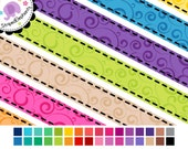 Digital Clip Art - Swirly Digital Ribbons - Instant Download - Commercial Use