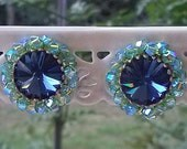 Blue Swarovski Crystal Post Earrings