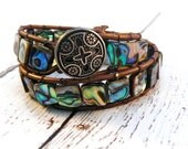 Boho Abalone on Brown Leather Double Wrap Bracelet/ Natural Elegance/ Modern Boho Chic/ Free Shipping