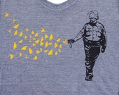 Womens Pepper Spray Cop t shirt -butterflies birds american apparel athletic gray, available in S,M, L ,XL- WorldWide shipping
