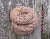 British Bluefaced Leicester Yarn, aran roving yarn, hand dyed aran yarn, golden brown, 100g,