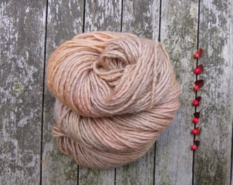 British Bluefaced Leicester Yarn, aran roving yarn, hand dyed aran yarn, golden brown, 100g,