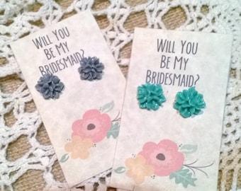 Handmade Bridesmaid- Will You Be My Bridesmaid Earrings