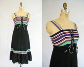 Vintage 1970s Sundress / Black, White, Red, Purple, Green Stripes / Size 8