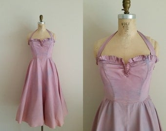 Vintage 1950s Purple Prom Dress / Halter / Sharkskin / Small