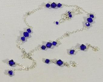 Swarovski Sterling Silver Necklace. Cobalt Blue Necklace