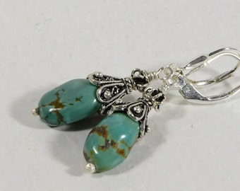 Genuine Turquoise Earrings Kingman Turquoise Sterling silver Wire Wrapped Earrings  Blue Green Turquoise Earrings