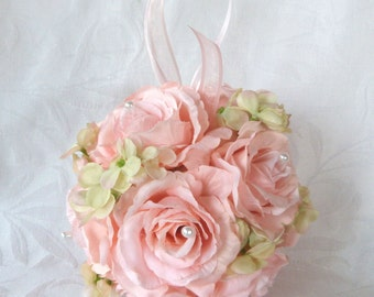Pink rose and green hydrangea kissing ball rose pomander wedding flower ball