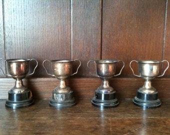Vintage English trophy cup collection un-engraved x 4 circa 1950/60's / English Shop
