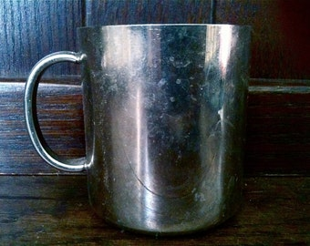 Vintage English small silver plate cup beaker mug circa 1950's / English Shop