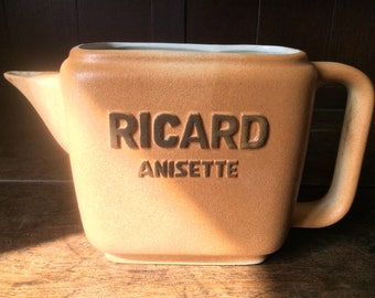 Vintage French 1 Litre Ricard Anisette Pitcher Jug Water Drinks Bar Barware circa 1970-80's / English Shop
