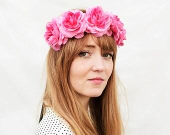 Pink Rose Crown, Pink Flower Crown, Floral Crown, Flower Headband, Rose Headband, Bright Pink, Bohemian Fashion, Hippie Headband