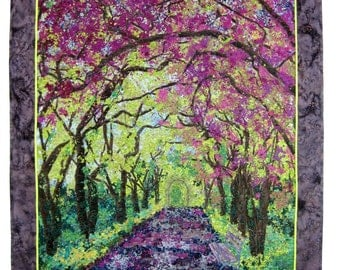 Art Quilt , Spring Stroll , Fabric Wall Hanging , Confetti Quilt , Fiber Art , New York City Art, Quilted Landscape Wall Decor, Central Park
