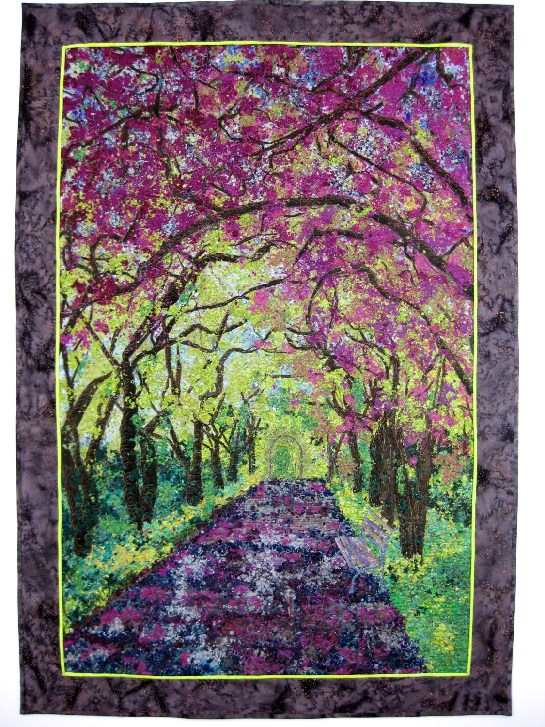 art quilt spring stroll fabric wall hanging confetti art. Black Bedroom Furniture Sets. Home Design Ideas