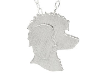 Poodle necklace, Poodle charm, Poodle jewelry, Poodle silhouette. Sterling Silver dog necklace, custom dog jewelry, pet memorial gift.