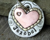 Medium Dog Tag- personalized pet id tag with hearts- Jezebel