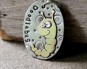 Large Dog ID Tag- large bug or catapillar metal pet id tag- Doodlebug