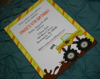PRINTED Mud Truck Birthday Party Invitations, set of 25