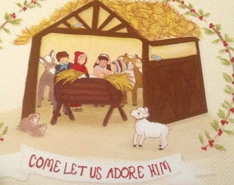 12 'Come Let Us Adore Him' 5 by 7 Christmas postcards with envelopes and stickers