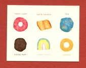 BREAKFAST CEREAL Field GUIDE -  Funny All Occasion Card - Lucky Charms, Cocoa Puffs, Cap'n Crunch, Trix, Cheerios, Froot Loops