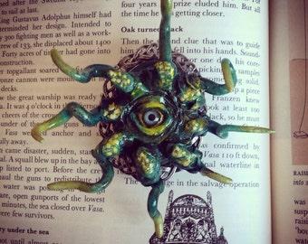One Eye Green Sea Creature Tentacle Steampunk Brooch Miniature Fimo Fantasy Monster Wearable Art Nautical Curio OOAK Hand Sculpted