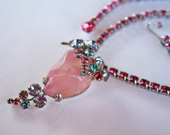 Vintage Pastel Rhinestone and Art Glass Necklace