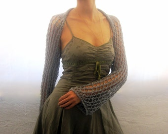 Gray Long Sleeves Cotton Shrug.Handmade Knit Lace Pattern, Eco Friendly