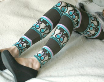 CLEARANCE SALE - Brown and turquoise tribal leggings