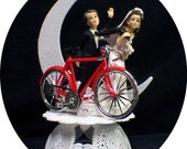 Bicycle Bike trail bride groom Wedding cake topper Outdoors sport racing