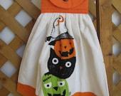 Halloween Kitchen Tea Towel Pumpkin Cat and Monster Halloween Hanging Kitchen Towel