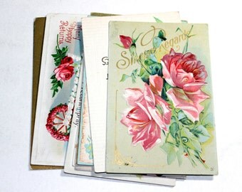 10 Early 1900s Greeting Postcard Assortment - Shades of Pink - Antique Used Postcards
