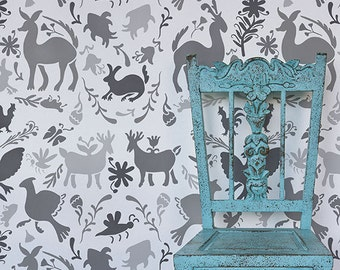 Mexican Otomi Allover Damask Wall Stencil for Wallpaper Look