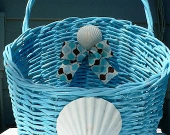 MAIL BASKET-Wall Basket-Beach Basket-Blue Basket-Vintage Basket-Organizer-Shell Basket-Mail-Florida-Annie Gray-Plant Holder-Tissue Holder