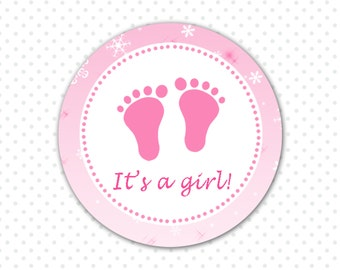 Winter Baby Girl Shower Label Cupcake Topper or Tag - Pink Baby Feet Party Favors Winter Its a Girl Stickers Snowflake INSTANT DOWNLOAD