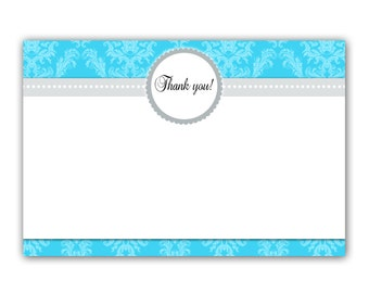 Printable Damask Turquoise Teal Blank Adult Birthday Party Thank You Card - Vintage Wedding Anniversary