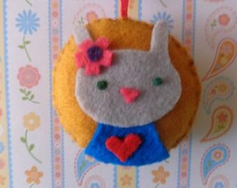 Grey Bunny Felt Ornament by Pepperland