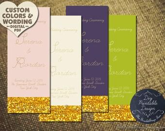 KISSED BY GOLD Wedding Program Printable Design / Order Prints Elegant Unique 2016 Trend Ceremony Order of Service Day Posh Regency Custom