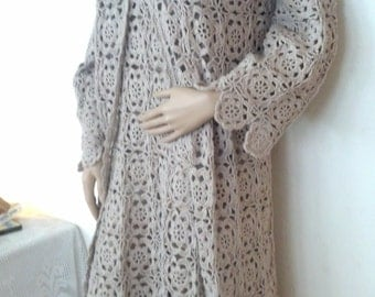 Elegant Crocheted  Dress W/ Coat & Jacket - Made to Order - Free shipping in USA