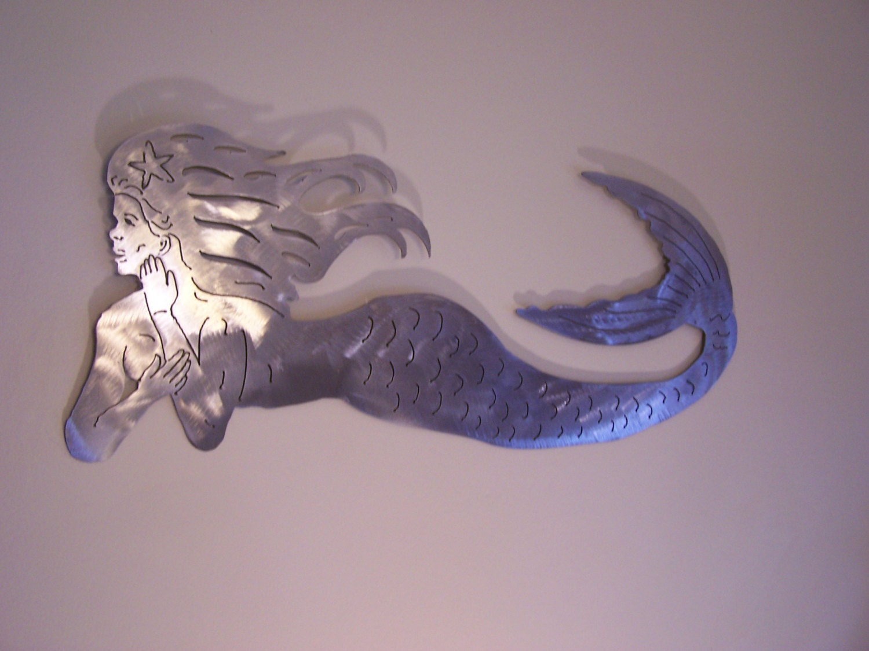 Mermaid Metal Art Sculpture Beach House Decor By