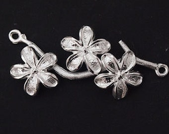 1 of 925 Sterling Silver  Flower Branch Link, Connector  18x37mm.  Matte Finish  :th1713