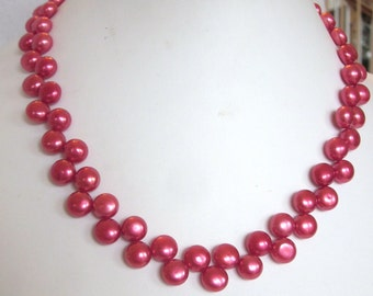 Fuchsia Pearl Necklace of Zig Zag, Top-Drilled, Button, Fresh Water Cultured Pearls, Wedding, Bride, Prom, Bridal, SRAJD